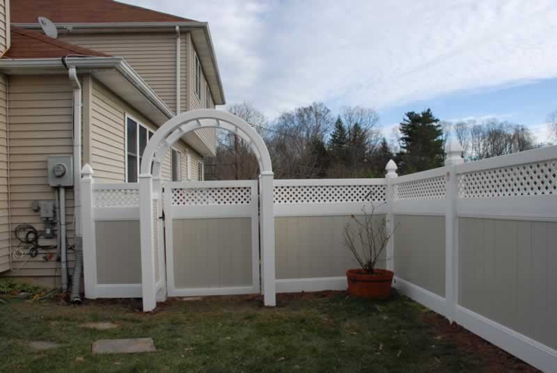 Two Tone Tongue and Groove with Diagonal Lattice wit Matching Gate and Arbor