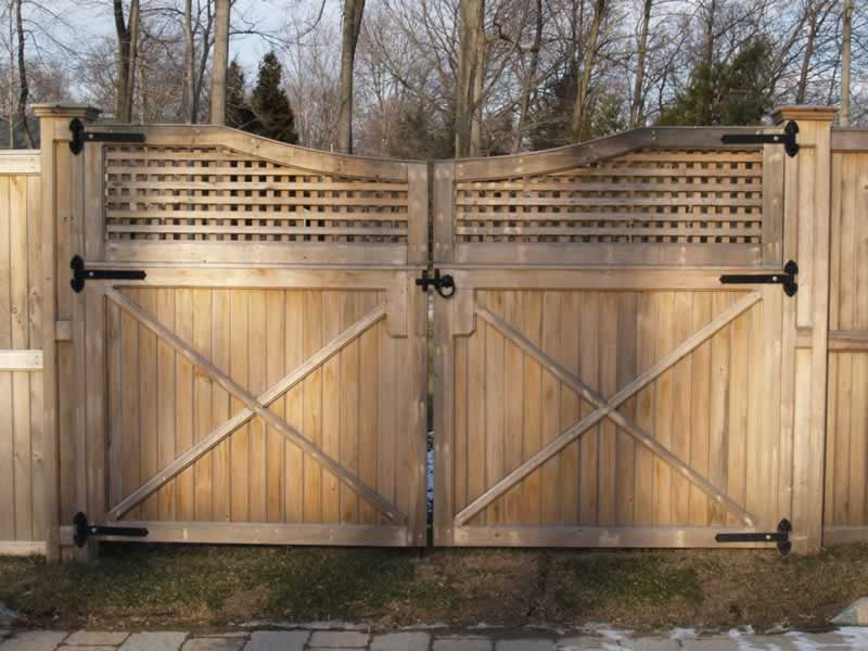 1 x 4 Cedar Tongue and Groove with Heavy Square Lattice double Drive Gate, scalloped, Hung on Custom Built Posts